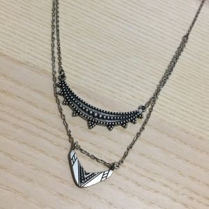 American Eagle silver layered necklace